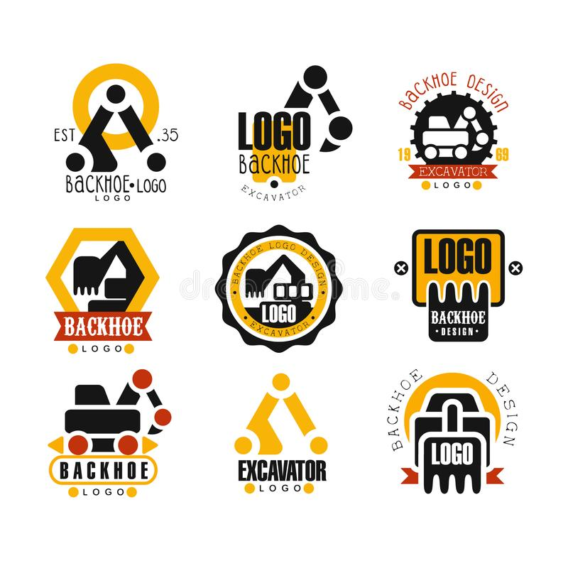 Backhoe and excavator logo design set vector Illustrations. On a white background royalty free illustration