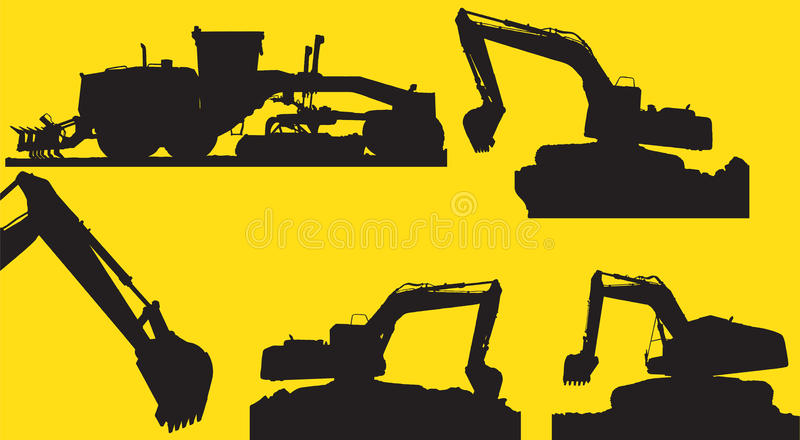 Backhoe and Grader. The shadow backhoe and grader car with a yellow background stock illustration