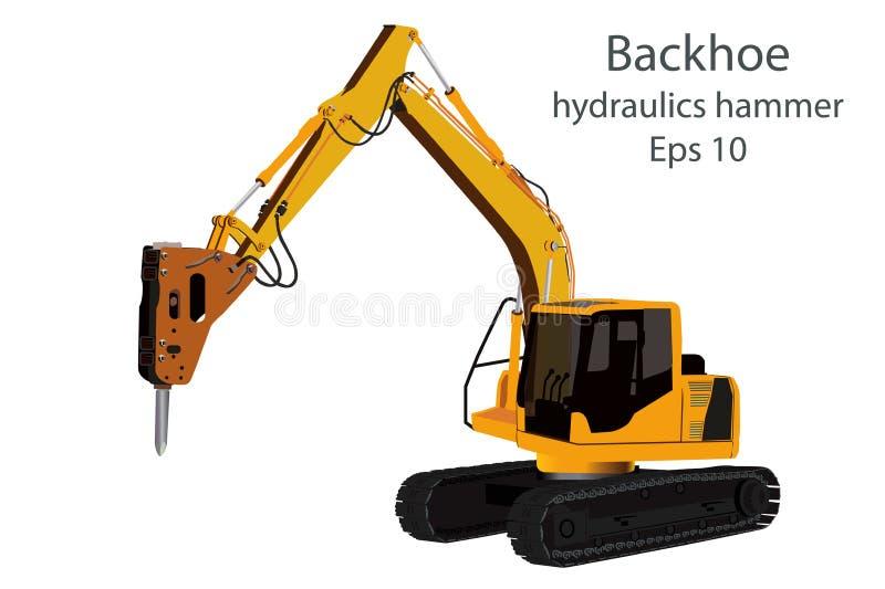 Backhoe and hydraulics hammer machine. On white background royalty free illustration
