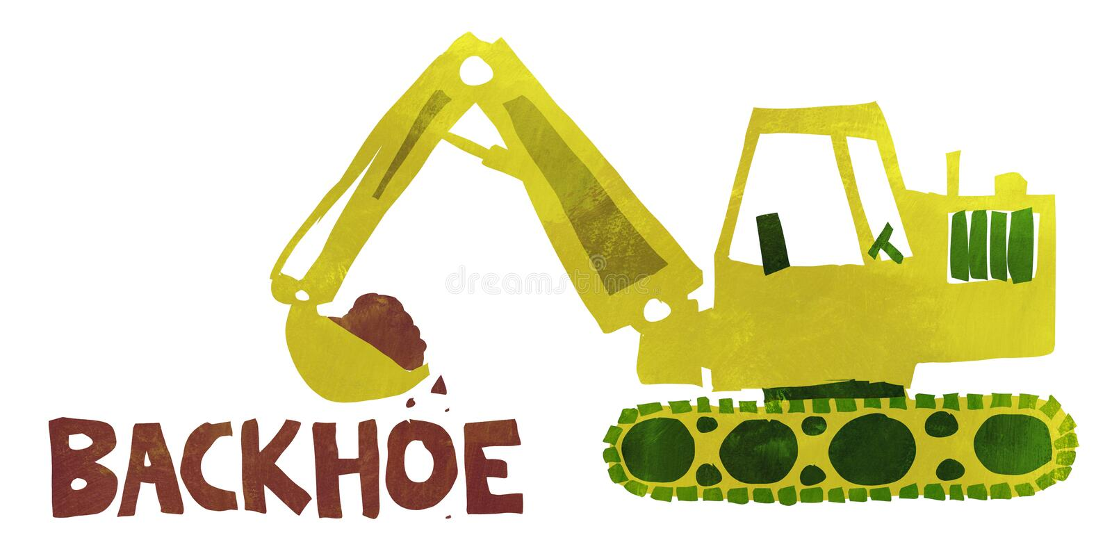 Backhoe. Illustration of a backhoe in a simple flat textured style vector illustration