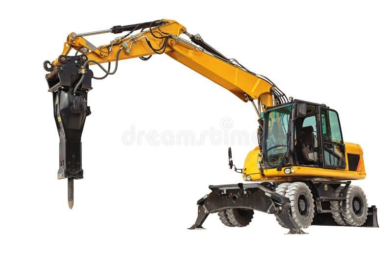 Backhoe lader of bulldozer - graafwerktuig met het knippen wegisola royalty-vrije stock foto's