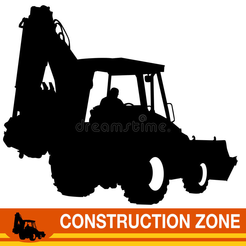 Backhoe Loader Construction Vehicle royalty free illustration