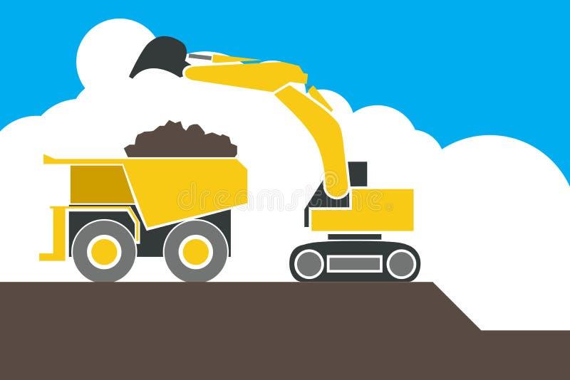 Backhoe loader excavator machine loading dumper truck,. Sand and soil stock illustration