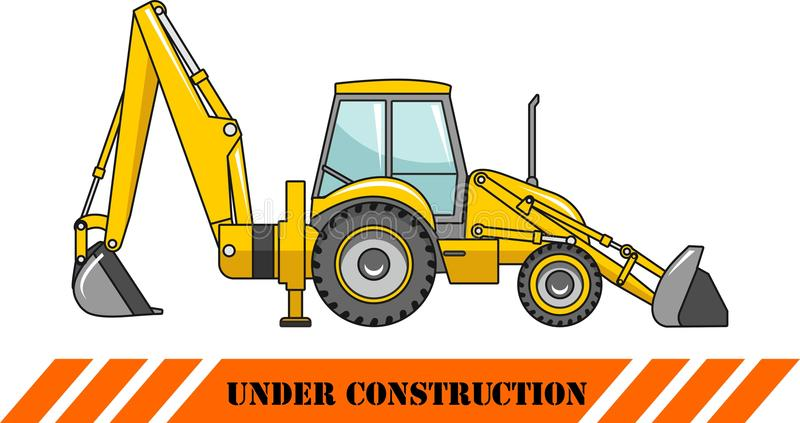 Backhoe loader. Heavy construction machine. Vector. Detailed illustration of backhoe loader, heavy equipment and machinery stock illustration