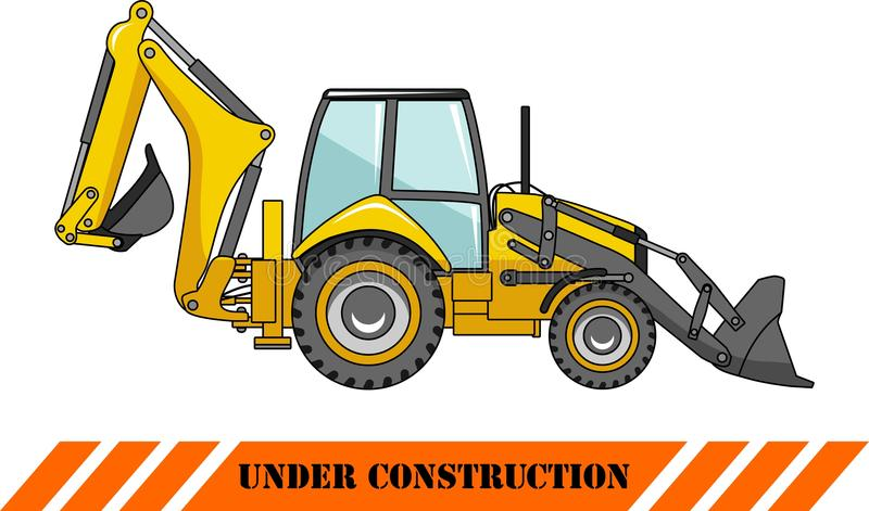 Backhoe loader. Heavy construction machines. Detailed illustration of backhoe loader, heavy equipment and machinery royalty free illustration