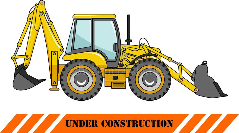 Backhoe loader. Heavy construction machines. Detailed illustration of backhoe loader, heavy equipment and machinery stock illustration