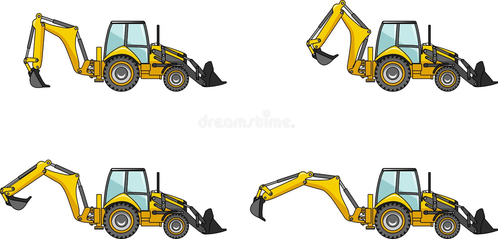Backhoe loaders. Heavy construction machines. Detailed illustration of backhoe loaders, heavy equipment and machinery stock illustration