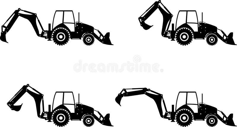 Backhoe loaders. Heavy construction machines. Vector illustration. Detailed illustration of backhoe loaders, heavy equipment and machinery royalty free illustration