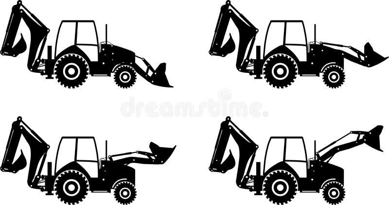 Backhoe loaders. Heavy construction machines. Vector illustration. Detailed illustration of backhoe loaders, heavy equipment and machinery vector illustration