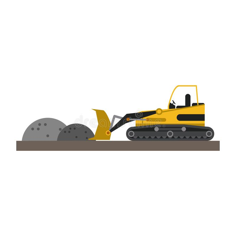 Backhoe loading gravel. On construction zone vector illustration graphic design vector illustration