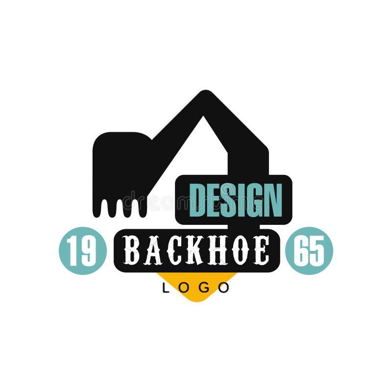Backhoe logo design, estd 1965, excavator equipment service label vector Illustration. On a white background royalty free illustration