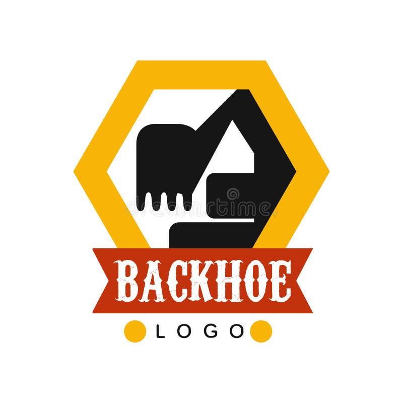 Backhoe logo template, excavator equipment service label vector Illustration. On a white background vector illustration
