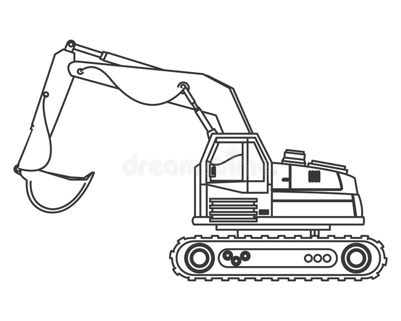 Backhoe machine icon. Flat design backhoe machine icon illustration vector illustration