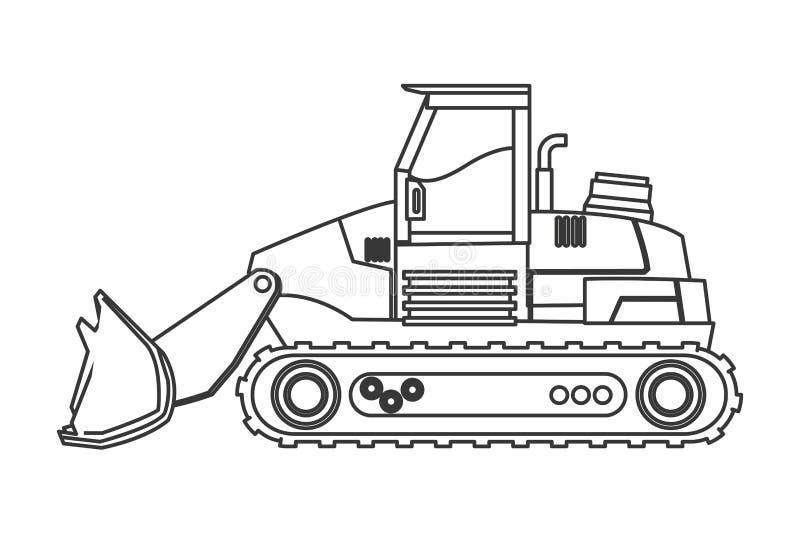 Backhoe machine icon. Flat design backhoe machine icon illustration royalty free illustration