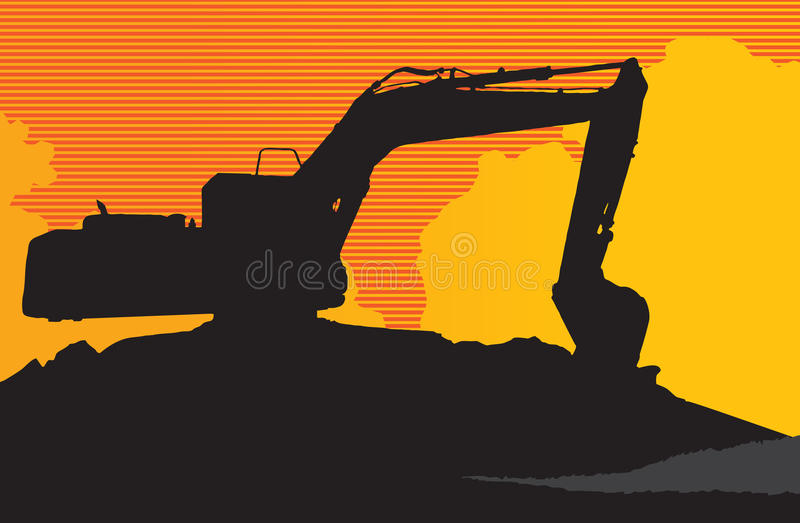 Backhoe. The shadow backhoe with a yellow background stock illustration