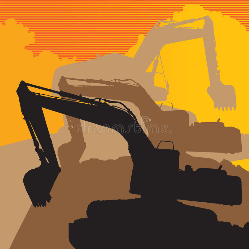 Backhoe. The shadow backhoe with a yellow background vector illustration