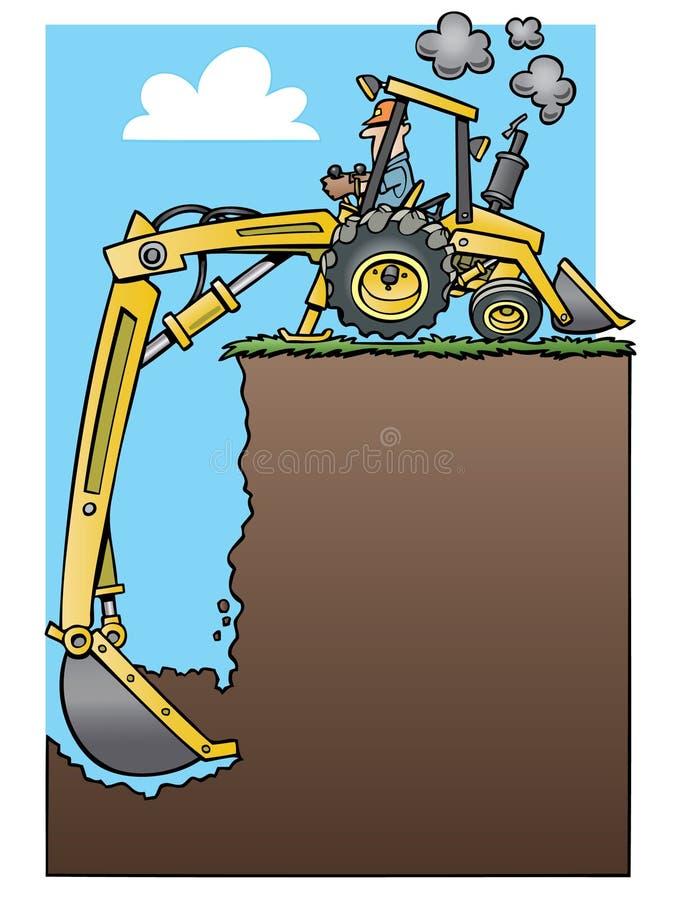 Backhoe tractor digging a deep hole. Ad frame with a cartoon yellow backhoe tractor digging a deep hole stock illustration