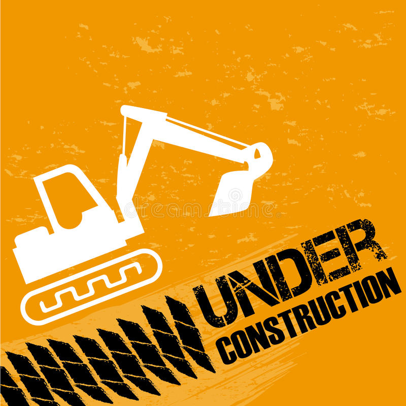 Backhoe under construction. Backhoe under constrution over orange background illustration stock illustration
