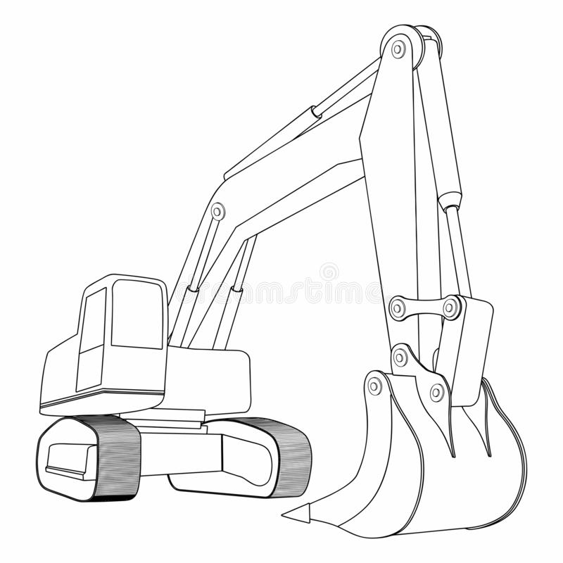 Backhoe, Yellow excavator, construction vehicles. Simple Excavator concept. Can be used in web and other design purposes for construction company vector illustration