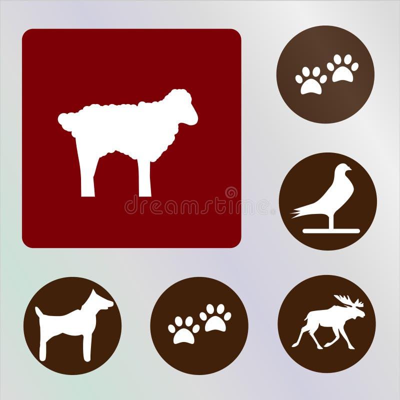 Backkckground de los vectores, de los iconos, de los ejemplos, rojo y marrón de los animales fotografía de archivo