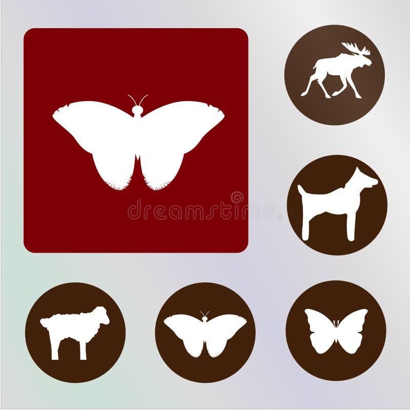 Backkckground de los vectores, de los iconos, de los ejemplos, rojo y marrón de los animales imágenes de archivo libres de regalías