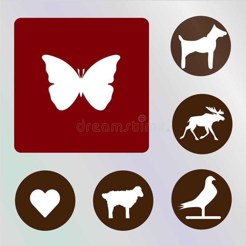 Backkckground del vector, del icono, del ejemplo, rojo y marrón de la mariposa fotos de archivo