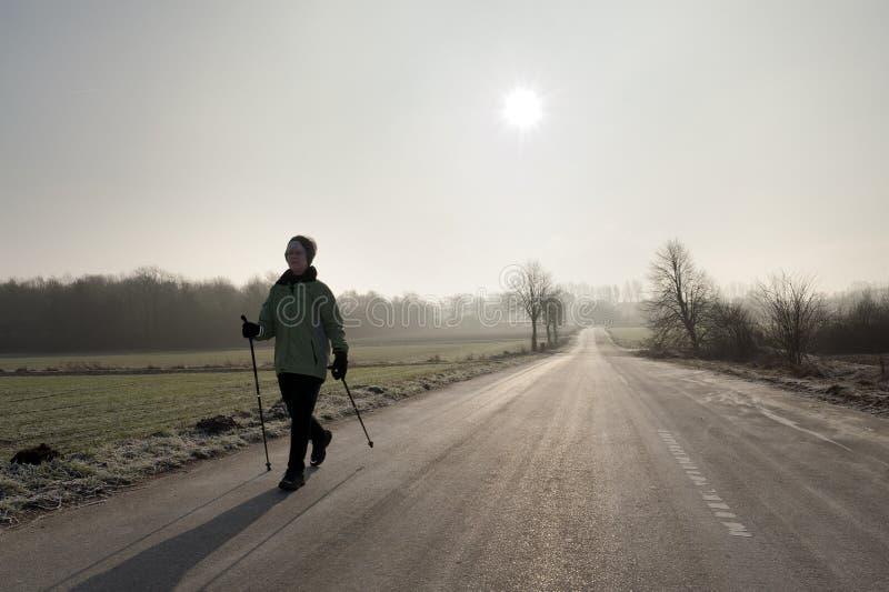 backlight σκανδιναβικό περπάτημα στοκ φωτογραφίες