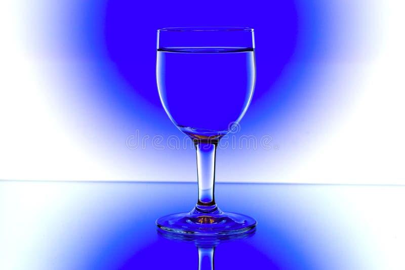 backlight błękitny szkieł biały wino fotografia stock