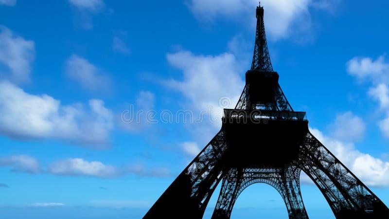 Backlight wycieczka turysyczna Eiffel zdjęcie stock