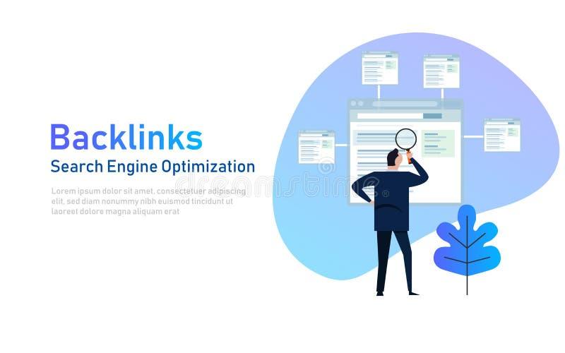 Backlinks eller sammanlänkningsbyggnad frambragd bildseo för dator begrepp illustration royaltyfri illustrationer