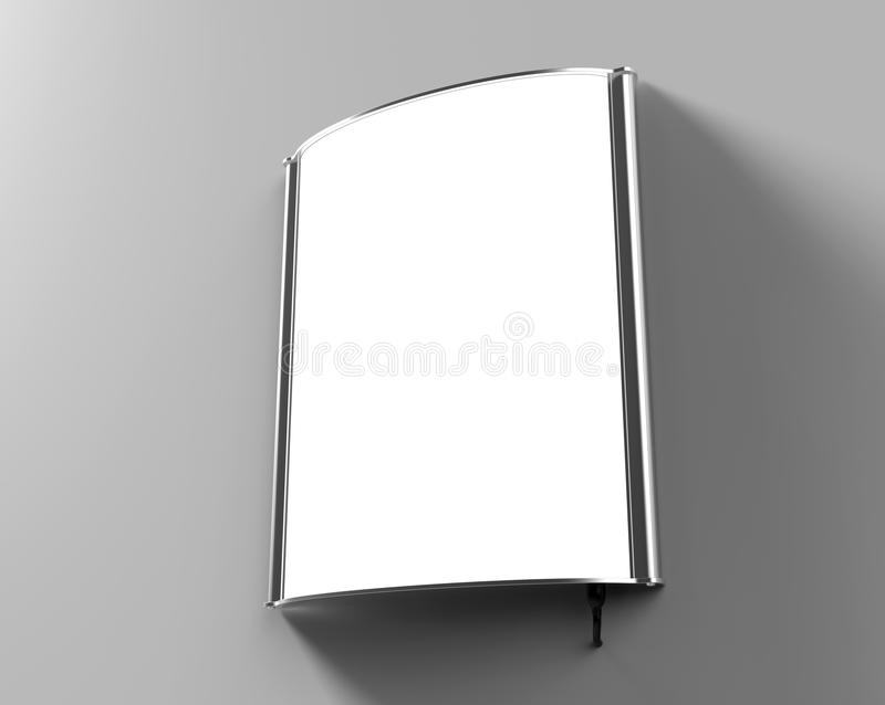 Backlit signage board, led glow advertising board, vinyl company sign on wall. Backlit signage board, led glow advertising board, vinyl company sign render vector illustration