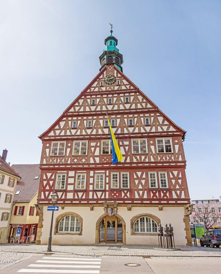 Backnang, центр города с историческим tonwhall стоковое изображение
