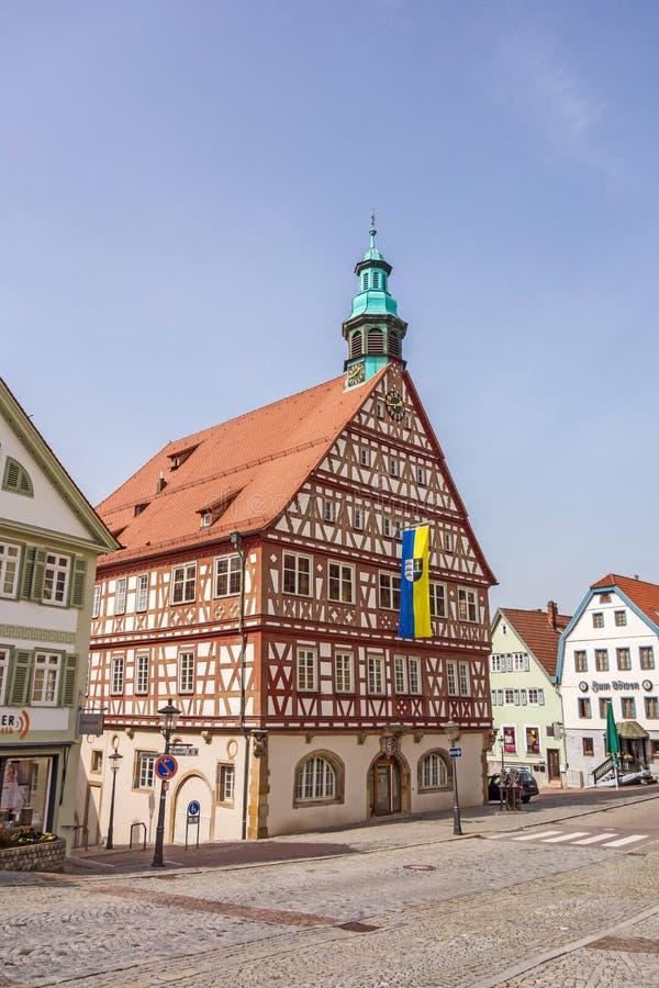 Backnang, centre de la ville avec le tonwhall photo libre de droits