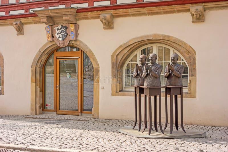 Backnang centrum med historisk tonwhall arkivfoton
