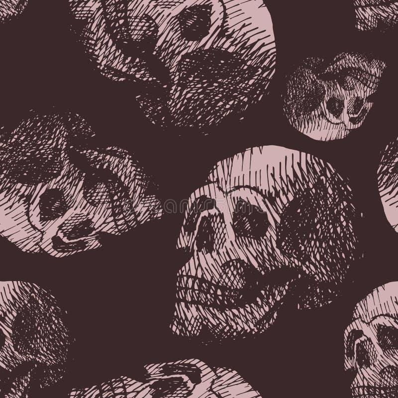 Backound sans couture de modèle de crâne d'os de crâne vintage grunge humain fabriqué à la main de visage de rétro illustration de vecteur