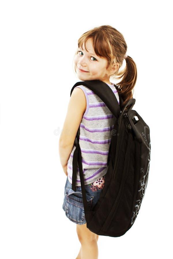 backpack μεγάλο κορίτσι λίγα στοκ φωτογραφία