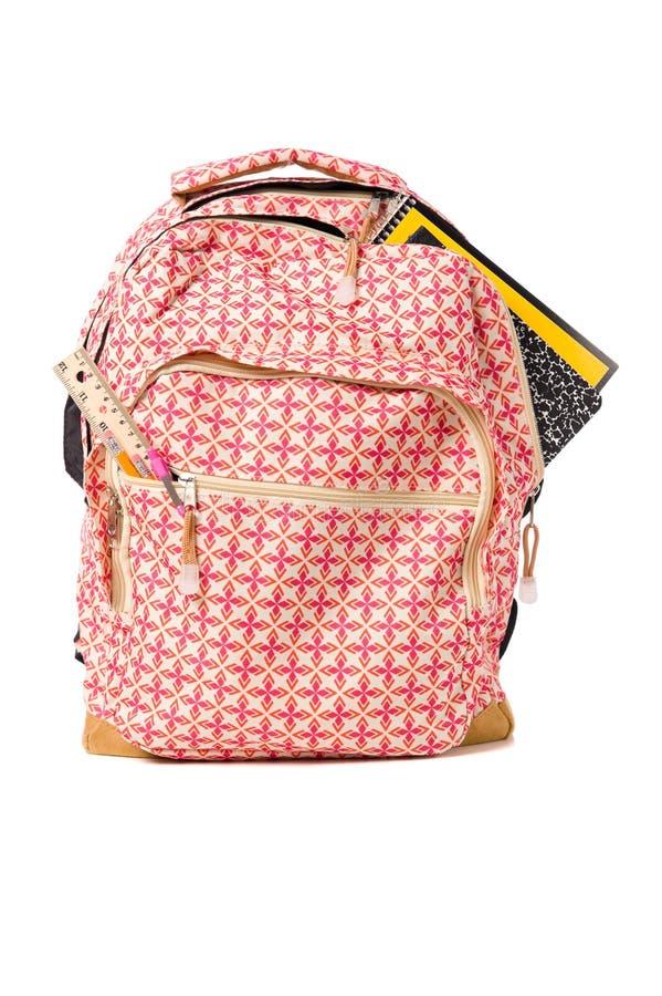 backpack ξεχειλίζοντας σχολι&kap στοκ φωτογραφία