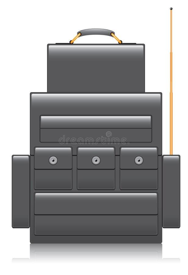 Backpack ραδιο χειριστής διανυσματική απεικόνιση