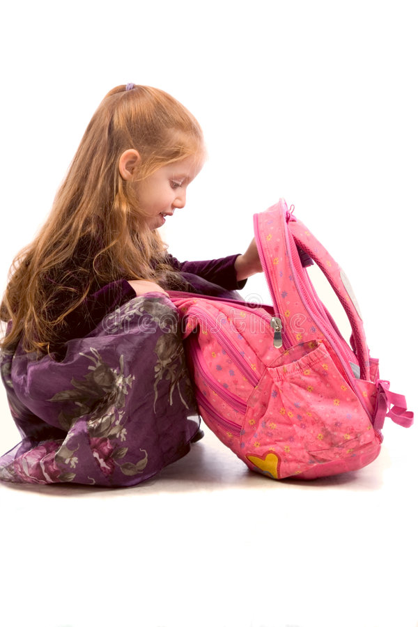 backpack ρόδινες νεολαίες κορ&io στοκ φωτογραφία με δικαίωμα ελεύθερης χρήσης