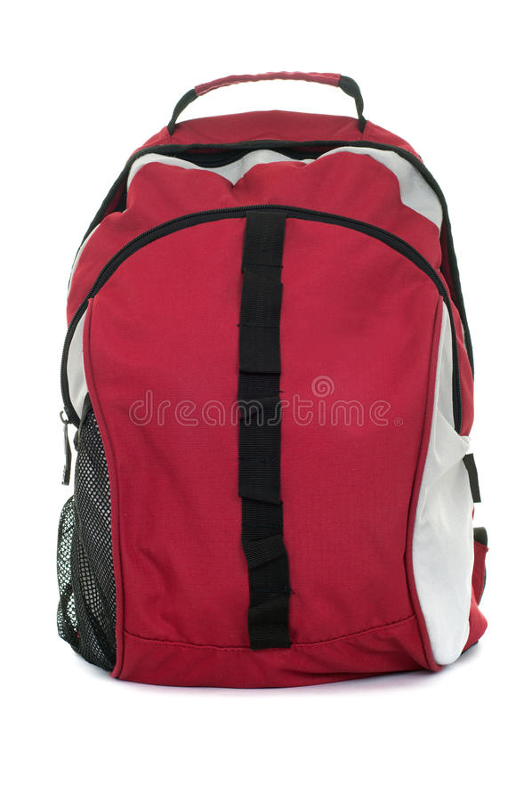 Backpack. Style black with red colored backpack isolated over white background royalty free stock photography
