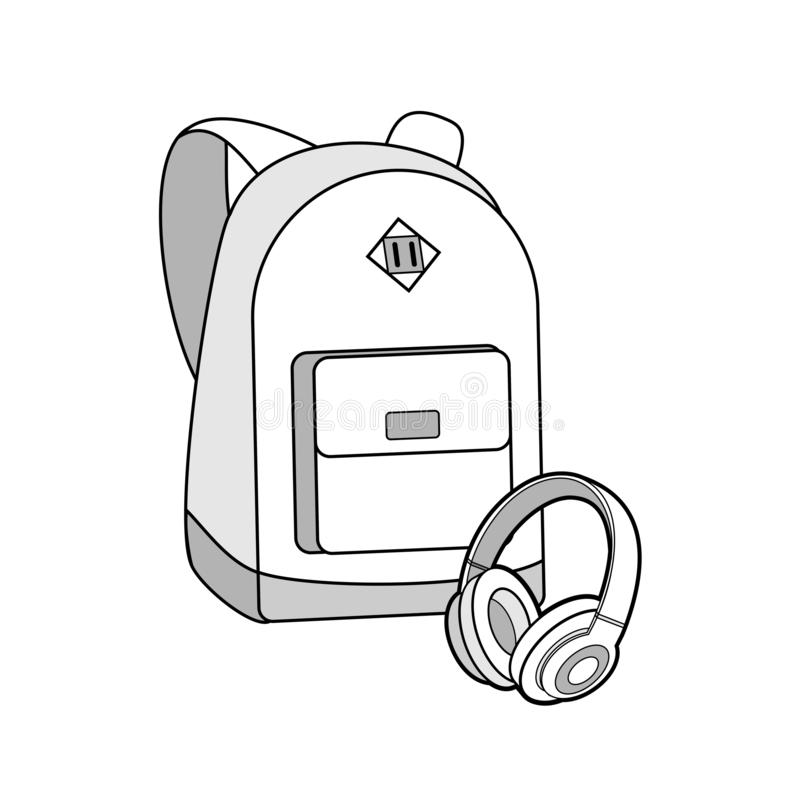 Backpack, bag, rucksack and headphones vector isolated set. Youth fashion hipster knapsack illustration in minimalist style. stock illustration