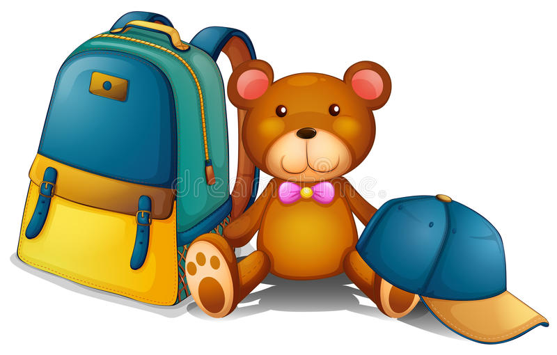 A backpack, a bear and a baseball cap. Illustration of a backpack, a bear and a baseball cap on a white background stock illustration