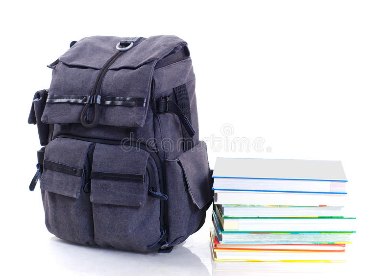 Backpack with book royalty free stock photo