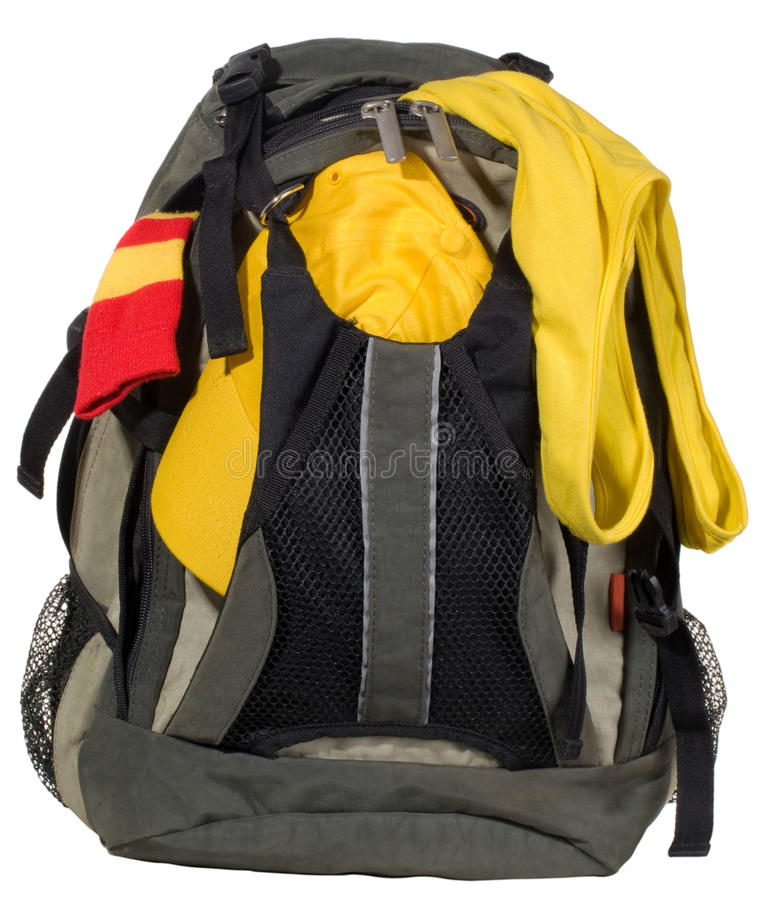 Backpack with clothes stock photo
