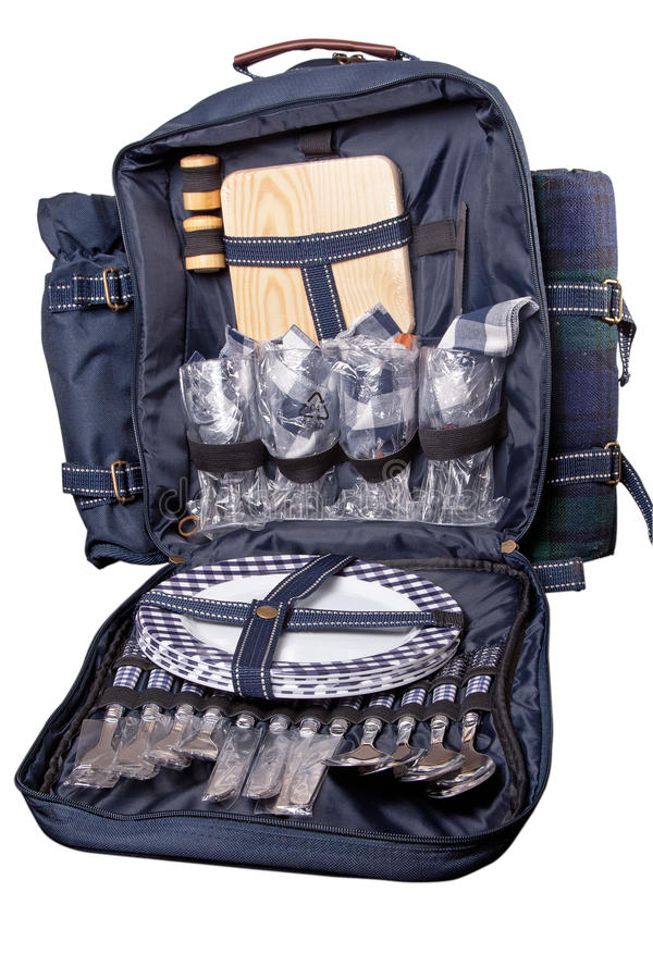 Download Backpack With Dinner Set For Picnic Stock Photo - Image: 13311308