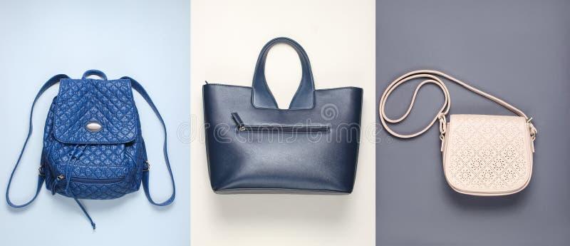 Backpack, handbag, bag on paper backgrounds. Top view, minimalism royalty free stock image