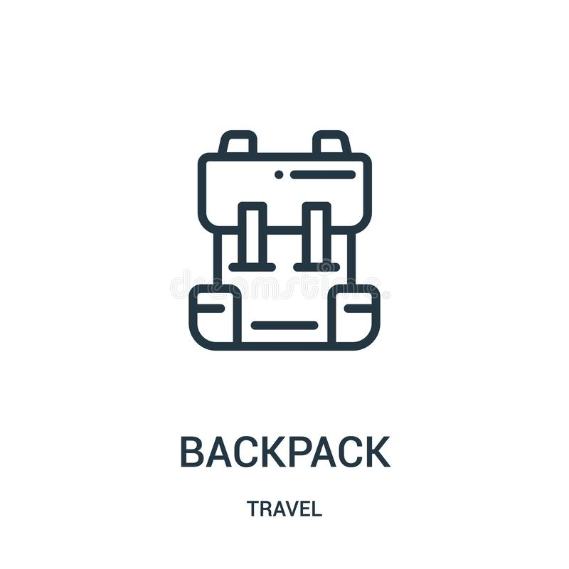 backpack icon vector from travel collection. Thin line backpack outline icon vector illustration. Linear symbol for use on web and vector illustration