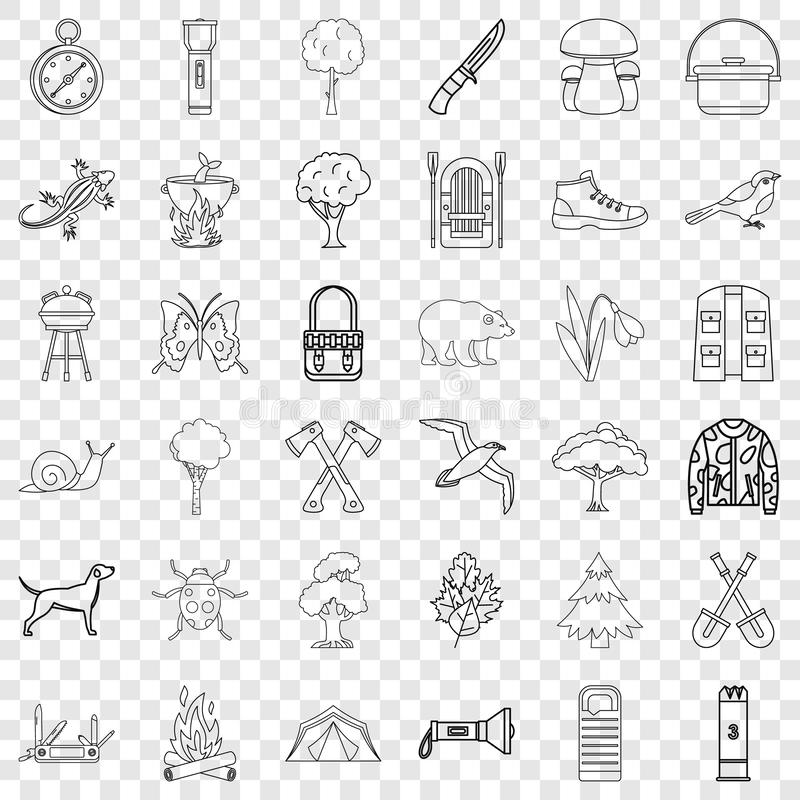 Backpack icons set, outline style. Backpack icons set. Outline style of 36 backpack vector icons for web for any design stock illustration