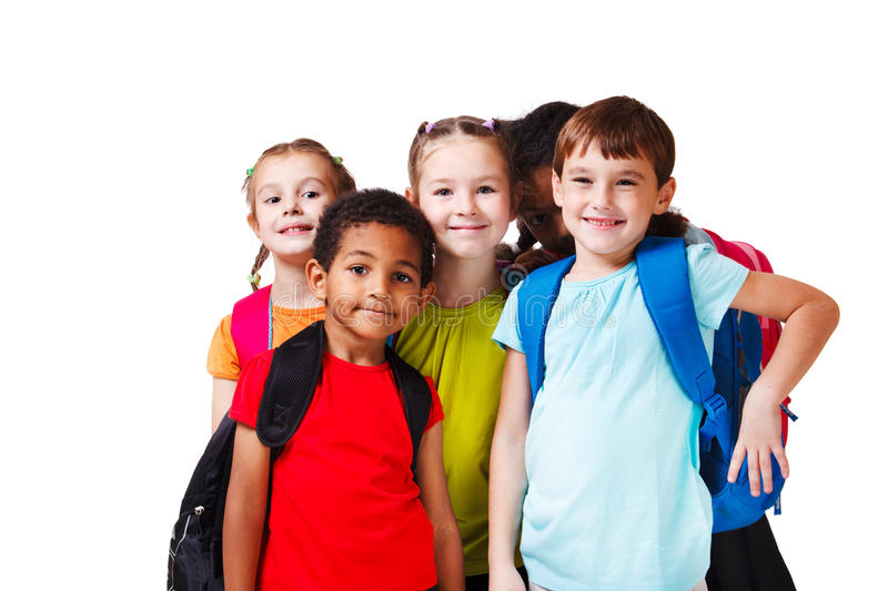 Backpack kids. Kids with backpacks in colorful t-shirts