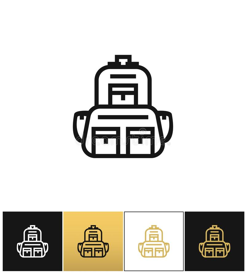 Backpack logo or linear luggage vector icon vector illustration